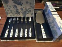 portmeirion botanic blue cake slice and 6 x pastry forks both brandnew in box