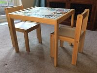 wooden infants table and 2 chair set