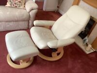STRESSLESS LEATHER CHAIR & FOOTSTOOL