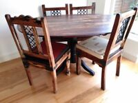 Oak dining table with 4 chairs with free console and chest of drawers