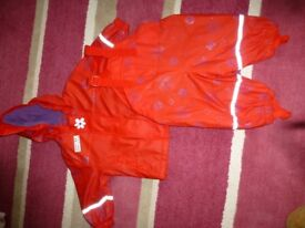 Waterproof jacket and dungarees - 2-piece splash suit - red 6-12 months