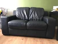 SOFA 100% Black Leather two seater Sofa ONLY £145.