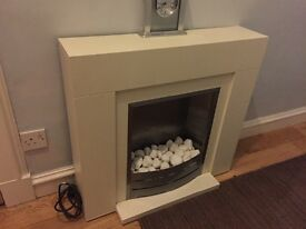 NEXT electric fireplace cream and silver with white stones, cost £380 only 2 years old NEXT