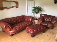 Chesterfield Suite - sofa, armchair and footstool