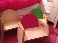3 wooden toddler/kids chairs