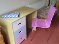 Childrens Kids desk with three drawers and matching chair