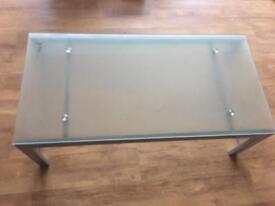 Glass coffee table metal frame