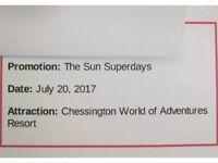2x Chessington World Of Adventures Tickets (Thursday 20th July 2017)
