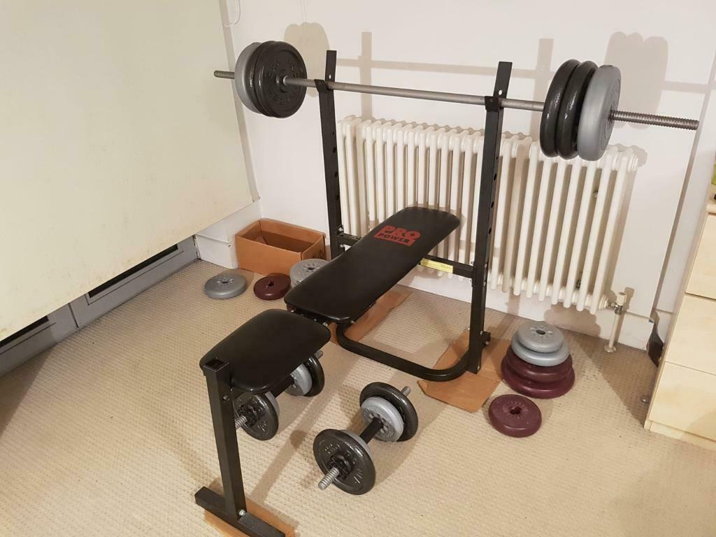 Home gym free weights bench press dumbbell dumb bell bar bell