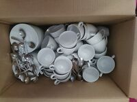 50 Coffee Cups with Saucers and Spoons