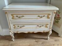 Bed side table chest of drawers ( solid wood ) Shabby chic ornate cream white gold