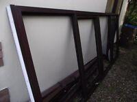 Large double glazed window Mahogany
