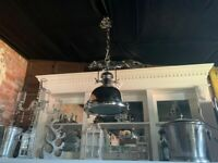 Huge Heavy Duty Industrial Style Nickel Hanging Light on Chain