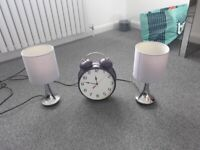 2 Crome Finger Touch Table Lamps & Alarm Clock.