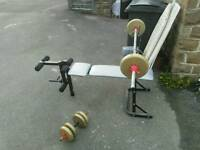 Weight bench, with bar and dumbbell