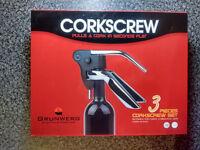 Grunwerg 3 piece lever corkscrew set (ergonomic design) includes cutter and extra screw