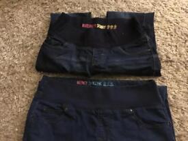 2 x skinny maternity jeans - size 10