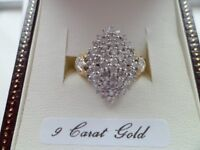 9 ct gold with 1 ct diamonds set in a cluster new