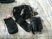 leather gloves, over mitts, overboots, handlebar muffs