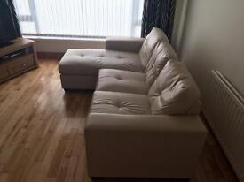 Cream leather L shape/corner sofa