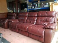 3 and a 1 leather seater sofa