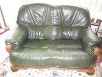 2 Seater Settee Sofa Green Leather & Heavy Oak Wood Frame