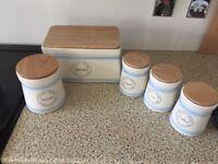 Bread bin biscuit tin and tea coffee sugar set