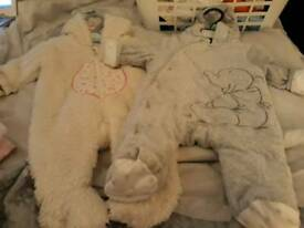 Girls 0-3 month next and Mothercare pramsuits