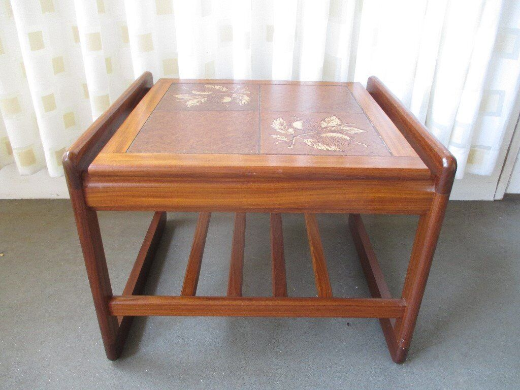 Vintage Teak Two Tier Tile Top Side Table Coffee Chestnut Design
