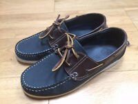 Next 1982 mens blue / Brown leather boat shoes size 8 (42) like new!