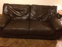 Brown Leather Sofa -free