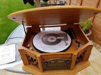 Phonograph GF665 retro radio, CD, cassette and record player, in light oak case