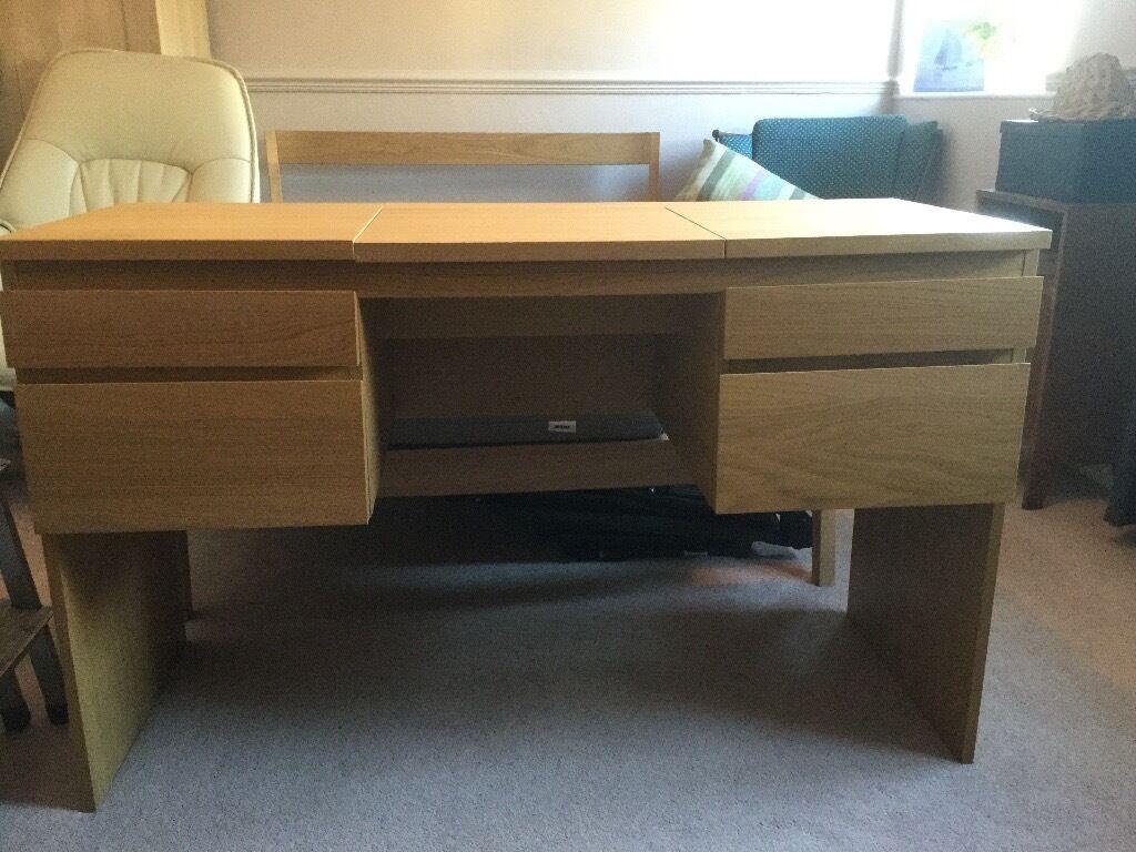 Ikea Oak Veneer Dressing Table With Fold Down Mirror