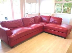Contemporary Red Leather Corner Suite