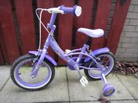 Disney Fairy purple bike with stabilisers 14 inch wheels suit age 3 to 5 years