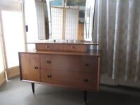 VINTAGE RETRO TEAK TWO TIER DRESSING TABLE WITH TRIPLE MIRROR FREE DELIVERY