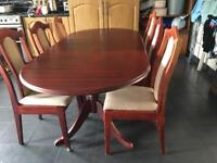 Wooden table with x6 chairs