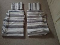 2 x single duvet covers, pillowcases, stripped beige modern design + fitted sheets, ex condition