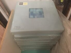9 SEALED BOXES OF GLASS MOSIAC FLOOR AND WALL TILES NEW AND UNUSED