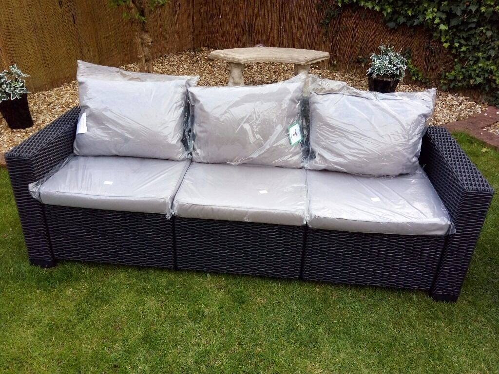 Sofa 3 Seater Rattan Style Garden Furniture Patio Matching Cusions
