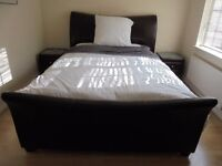King Size Sleigh Bed with Matress/Pillows/Sheet/Duvet and 2 x Side Cabinets!