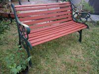 Cast Iron & Pine Vintage Decorative Garden Bench