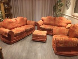 Terracotta good condition Very solid ,xtra firm upholstered seating +back cushions ,arm covers inc