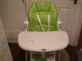 CHICCO FOLDING ADJUSTABLE HIGH CHAIR WITH REMOVABLE TRAY