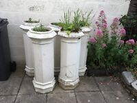 4 chimney pot garden planters.