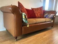 Bespoke Nut-brown Aniline Leather MOSELLE similar to Tetrad 3 seater Sofa DELIVERY