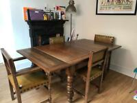 Edwardian Oak Table And Chairs