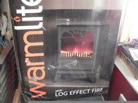 WARMLITE LOG EFFECT FIRE IN BLACK BRAND NEW