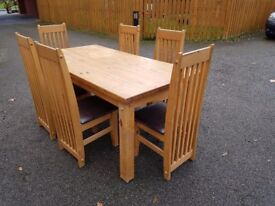 Large Tortilla Espresso Dining Table 183cm & 6 Chairs FREE DELIVERY 296