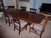 Mahogany Dinning Room Table & Six Chair (PRICE REDUCED BY 30%)